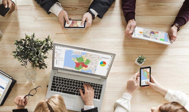 utilisateurs d'un reporting commercial géographique