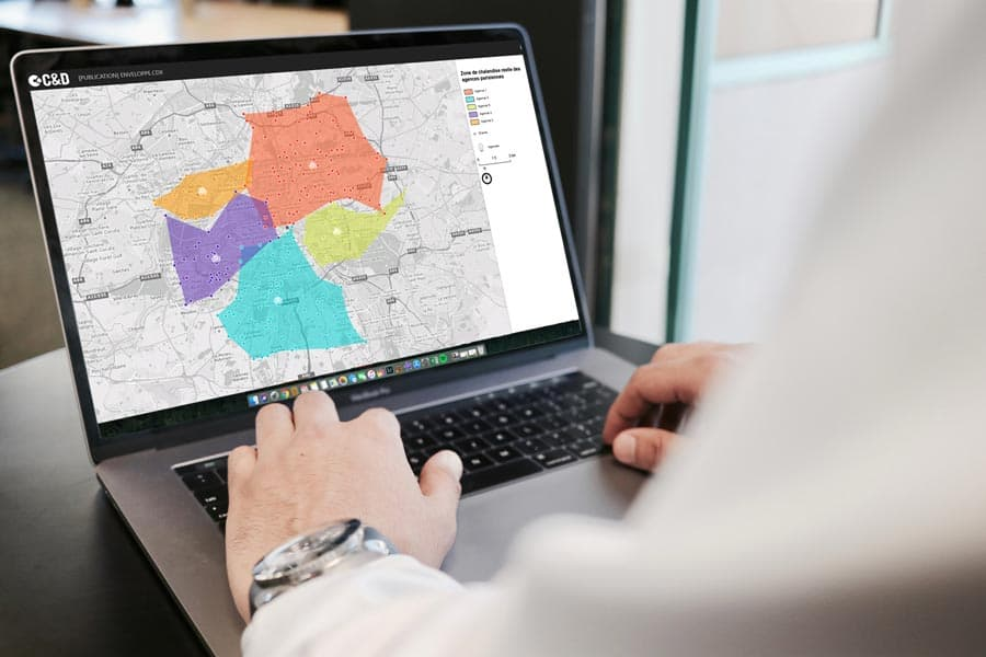 reporting visuel sur les zones de chalandises d'agences